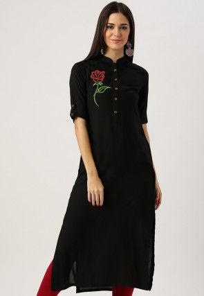 Embroidered Rayon Straight Kurta in Black