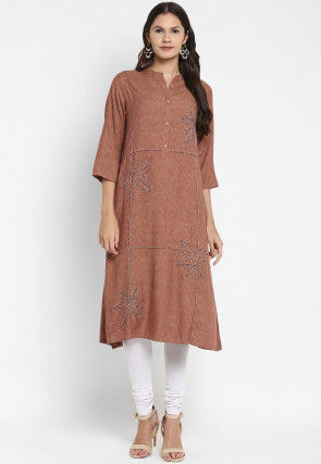 Embroidered Rayon Straight Kurta in Brown