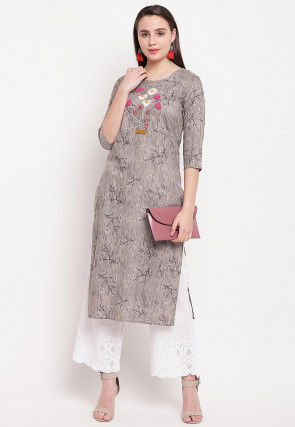 Embroidered Rayon Straight Kurta in Grey