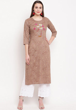 Embroidered Rayon Straight Kurta in Light Brown
