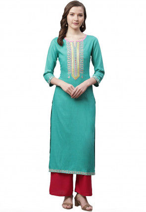 Embroidered Rayon Straight Kurta in Light Teal green