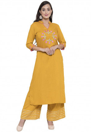 Embroidered Rayon Straight Kurta in Mustard