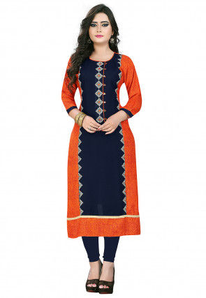 Embroidered Rayon Straight Kurta in Navy Blue and Orange