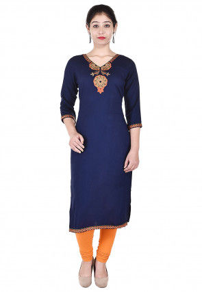 Embroidered Rayon Straight Kurta in Navy Blue
