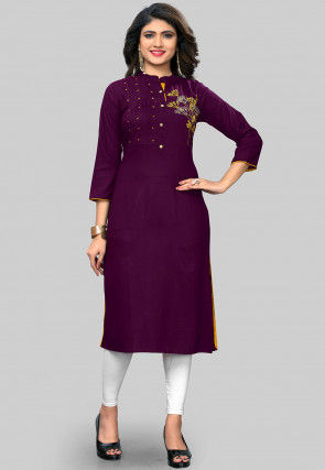 Embroidered Rayon Straight Kurta in Purple