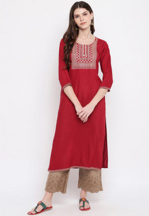 Embroidered Rayon Straight Kurta in Red