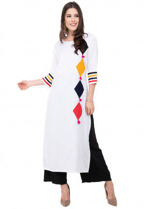 Embroidered Rayon Straight Kurta in White