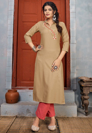 Embroidered Rayon Straight Kurta Set in Beige