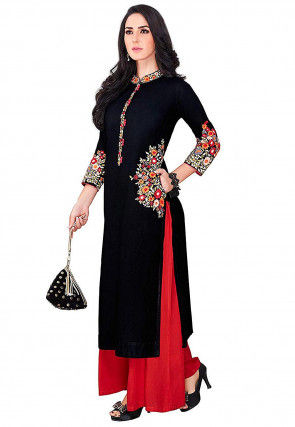 Embroidered Rayon Straight Kurta Set in Black