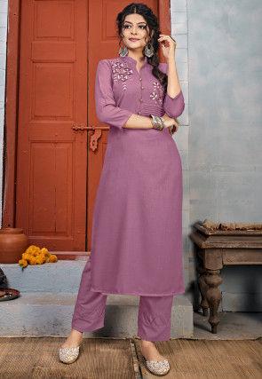 Embroidered Rayon Straight Kurta Set in Light Purple