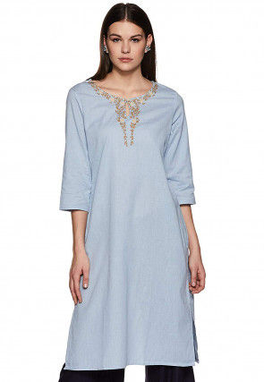 Embroidered Rayon Straight Kurti in Dusty Blue