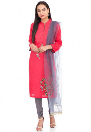 Embroidered Rayon Straight Suit in Coral Red