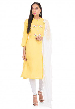 Embroidered Rayon Straight Suit in Yellow