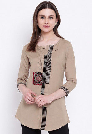 Embroidered Rayon Top in Beige