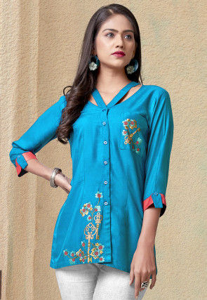 Embroidered Rayon Top in Blue