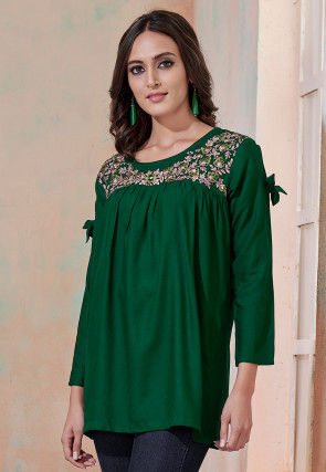 Embroidered Rayon Top in Dark Green