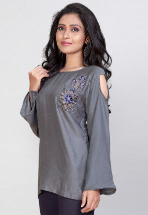 Embroidered Rayon Top in Grey