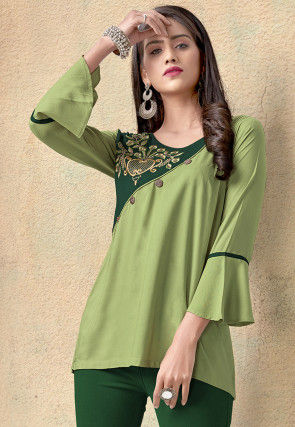 Embroidered Rayon Top in Light Green