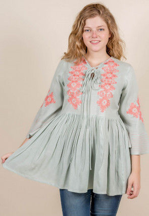 Embroidered Rayon Top in Light Grey