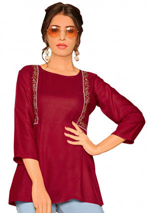Embroidered Rayon Top in Maroon