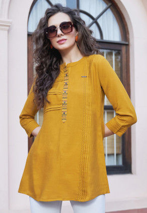 Embroidered Rayon Top in Mustard