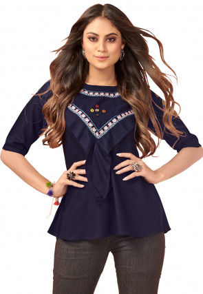 Embroidered Rayon Top in Navy Blue