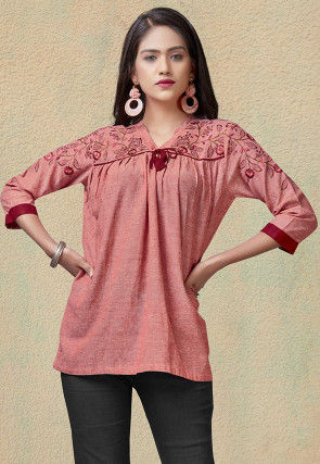 Embroidered Rayon Top in Peach