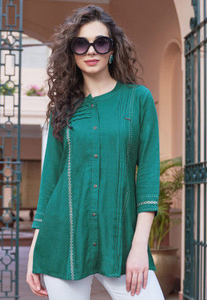 Embroidered Rayon Top in Teal Green
