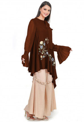 Embroidered Rayon Top N Bottom in Dark Brown