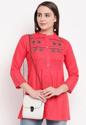 Embroidered Rayon Tunic in Coral Pink