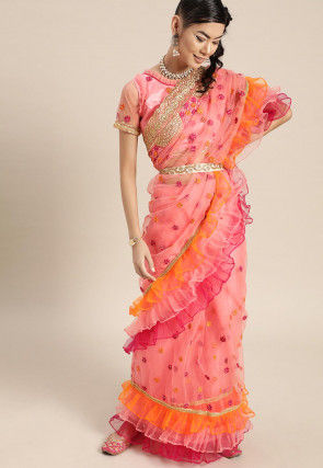 Embroidered Ruffled Net Saree in Peach