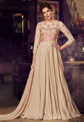 Embroidered Satin Abaya Style Suit in Beige