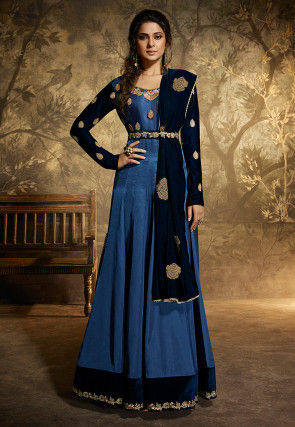 Embroidered Satin Abaya Style Suit in Blue