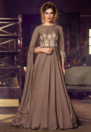 Embroidered Satin Abaya Style Suit in Fawn