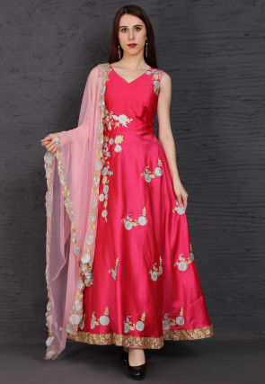 Embroidered Satin Abaya Style Suit in Fuchsia