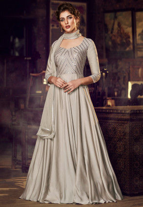 Embroidered Satin Abaya Style Suit in Light Fawn