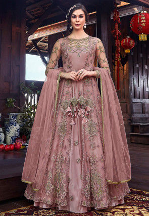 Embroidered Satin Abaya Style Suit in Old Rose