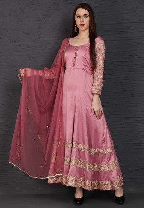 Embroidered Satin Abaya Style Suit in Pink