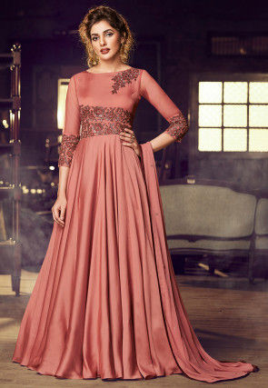 Embroidered Satin Abaya Style Suit in Rust