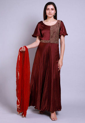 Embroidered Satin Abaya Style Suit in Wine