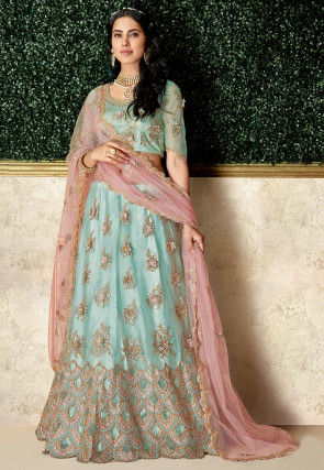 Embroidered Satin and Net Lehenga in Sky Blue