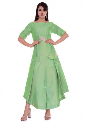 Embroidered Satin Asymmetric Kurta in Pastel Green