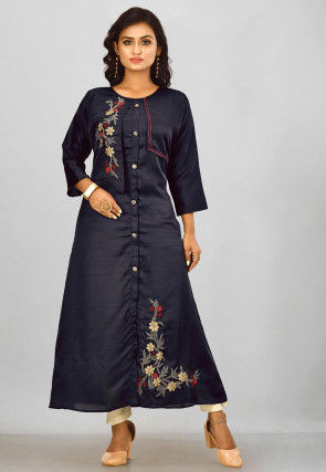 Embroidered Satin Chiffon Abaya Style Suit in Navy Blue