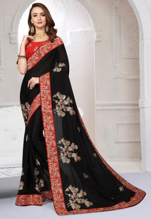 Embroidered Satin Chiffon Saree in Black