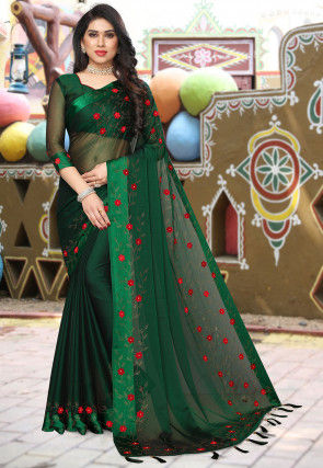 Embroidered Satin Chiffon Saree in Dark Green