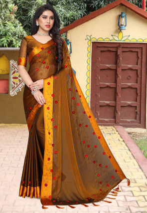 Embroidered Satin Chiffon Saree in Dark Mustard