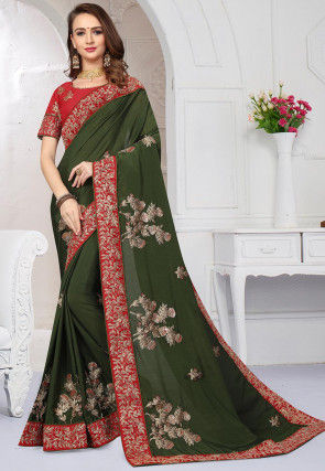 Embroidered Satin Chiffon Saree in Dark Olive Green