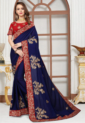 Embroidered Satin Chiffon Saree in Navy Blue