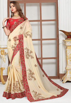 Embroidered Satin Chiffon Saree in Off White