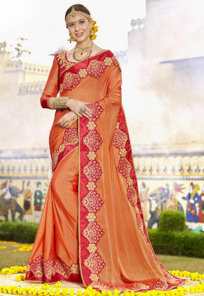 Embroidered Satin Chiffon Saree in Orange